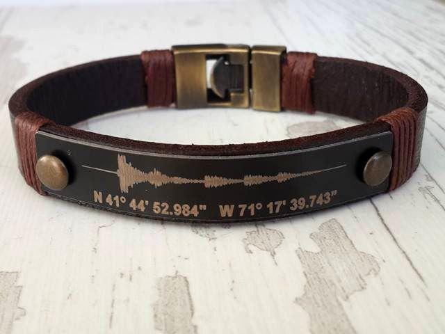 Soundwave Bracelet Coordinate For Him Personalized Leather Male Custom Graduation Gift
