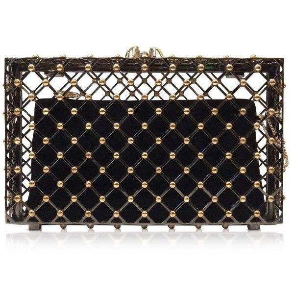Düğün - Charlotte Olympia Handbags Linear Pandora Black And Gold Clutch
