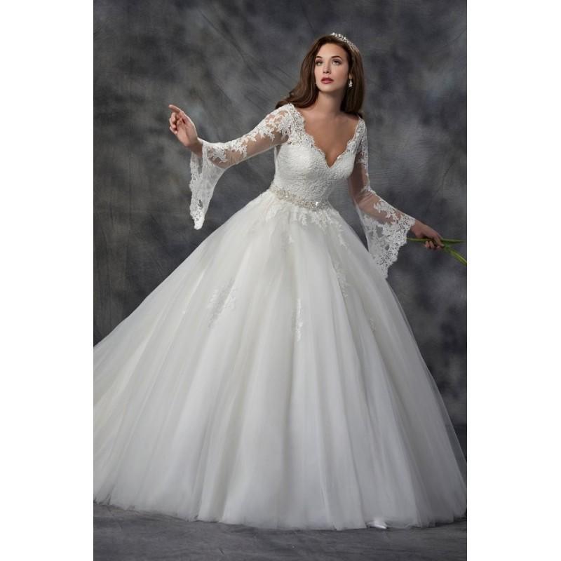 Wedding - Style C8034 by Karelina Sposa Exclusive - LaceNet V-neck Long sleeve Chapel Length Floor length Ballgown Dress - 2017 Unique Wedding Shop