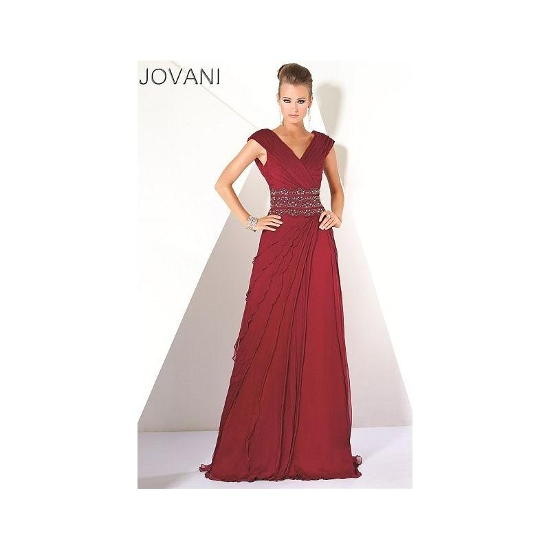 67487f6109b9 Jovani Cap Sleeve V Neck Evening Dress 171146 - Brand Prom Dresses ...