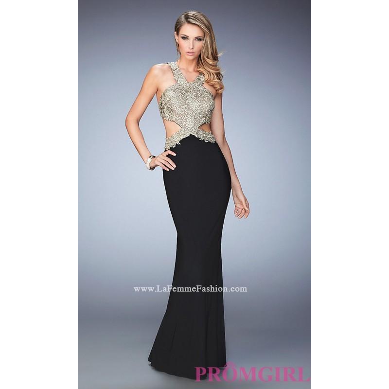 393a3edfd67 Open Back Long V-Neck Jersey Prom Dress by La Femme - Discount Evening  Dresses