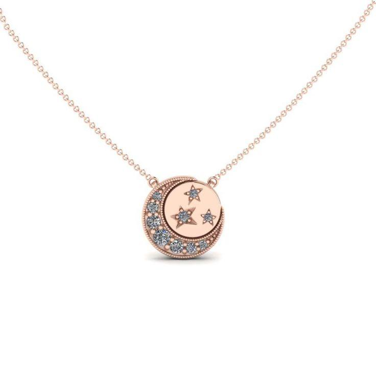 Wedding - Moon And Stars Disc Necklace