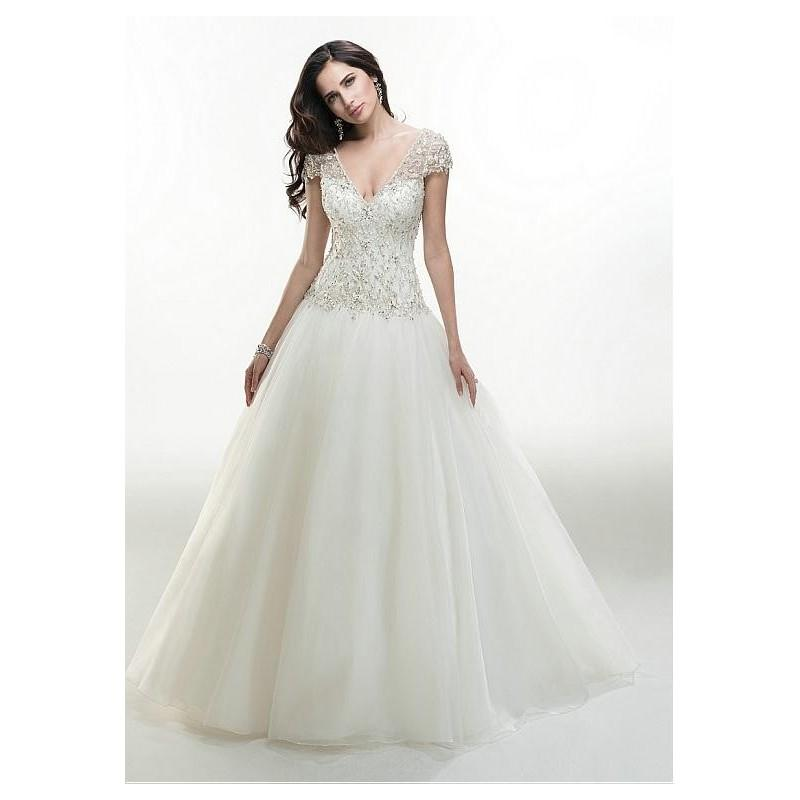 Mariage - Glamorous Organza V-neck Neckline Natural Waistline Ball Gown Wedding Dress With Embroidered Beadings - overpinks.com