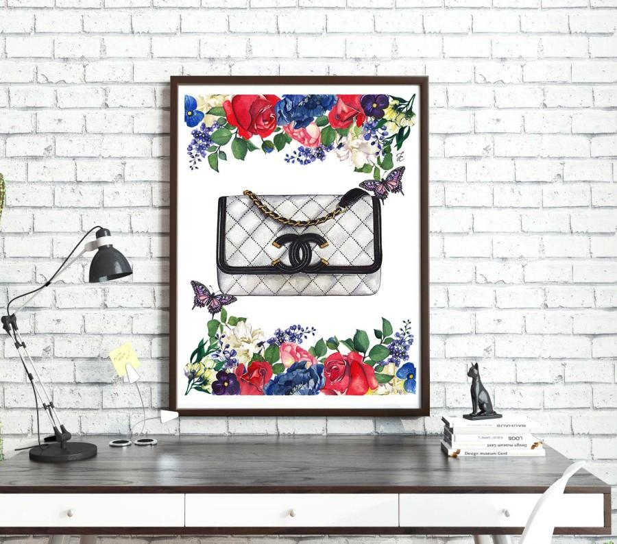 Mariage - Chanel illustration, Chanel print, Chanel poster, Coco Chanel print, Coco Chanel art, Chanel bag, Fashion illustration, Flowers painting