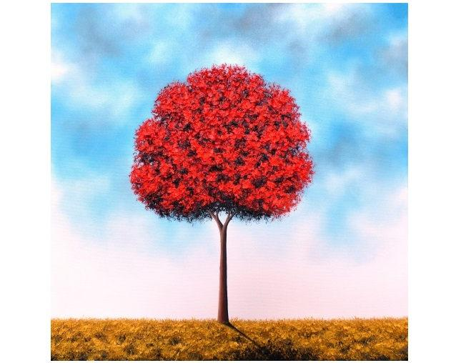 Mariage - Textured Oil Painting, Contemporary Modern Art, ORIGINAL Red Tree Painting, Impasto Tree Art, Large Wall Art, Blue Sky, Landscape, 24x24