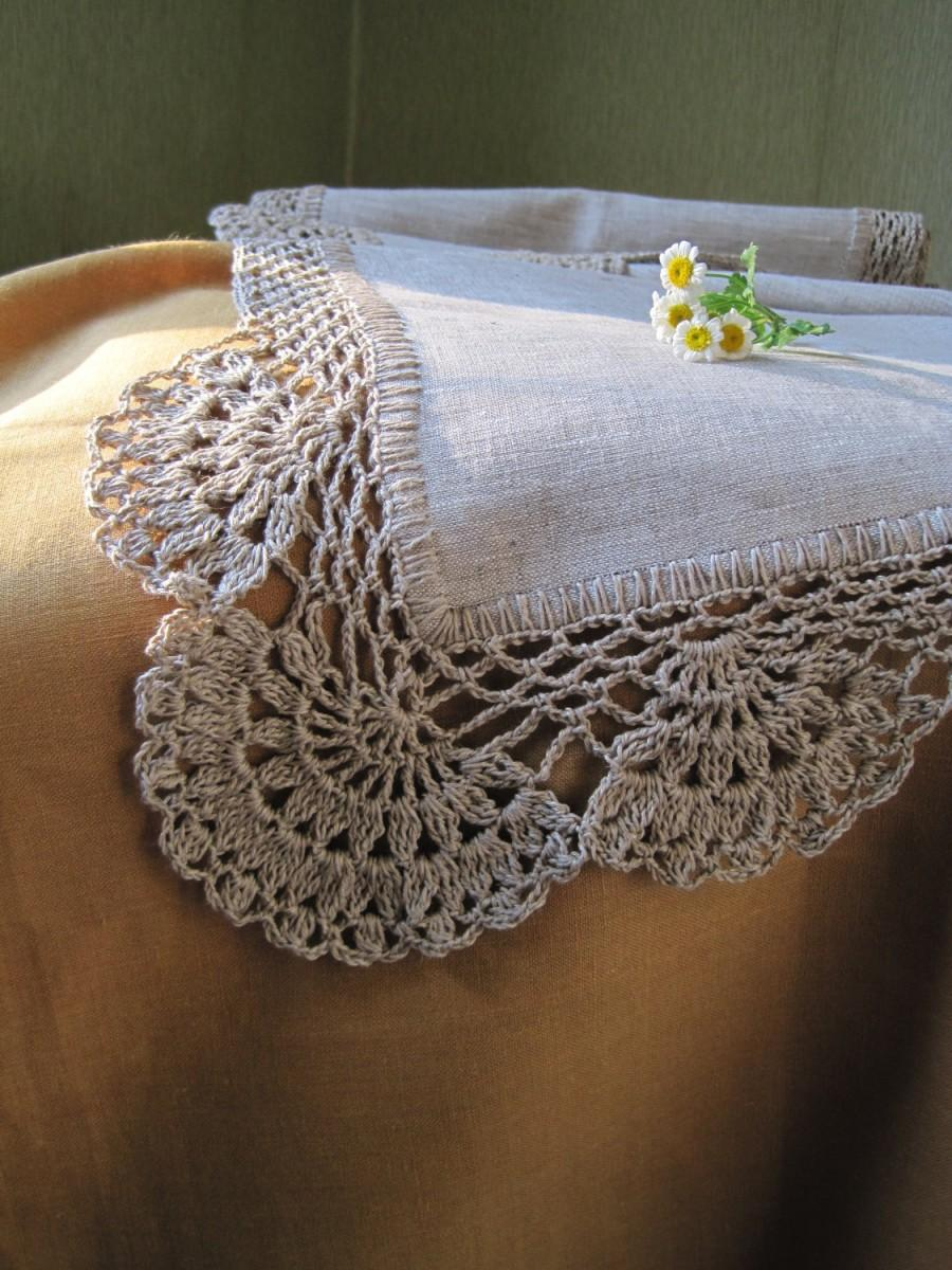 Mariage - Linen table runner Lace table runner Housewares Tabletop decor Crochet tablecloth Grey table runner Long linen runner Rustic home decor