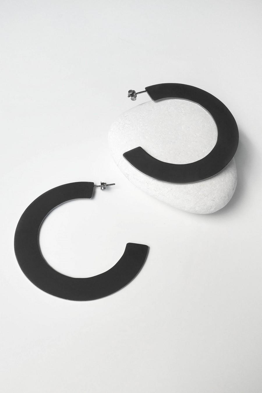 Mariage - Large Hoop Earrings, Minimalist Hoop Earrings, Black Platinum Hoop Earrings,Thick Hoop Earrings,Geometric Earrings, Open Hoop Earrings