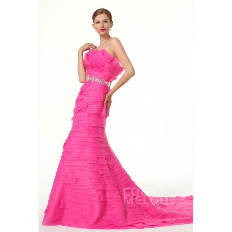 Hochzeit - Modern Trumpet Mermaid Strapless Court Train Organza Fandango Pink Evening Dress - Top Designer Wedding Online-Shop