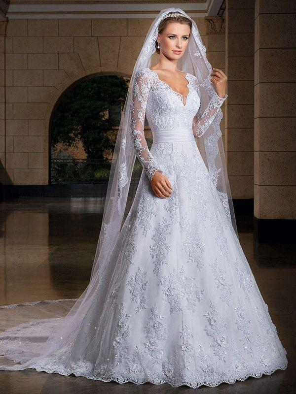 Hochzeit - A-line/Princess V-neck Chapel Train Long Sleeves Organza Wedding Dress With Applique
