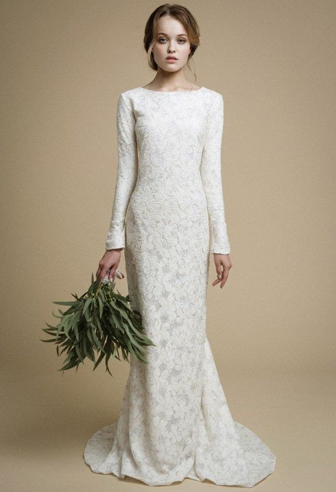 Utta Long Sleeves Wedding Dress Elegant Fit Mermaid Lace Gown Boho Gold