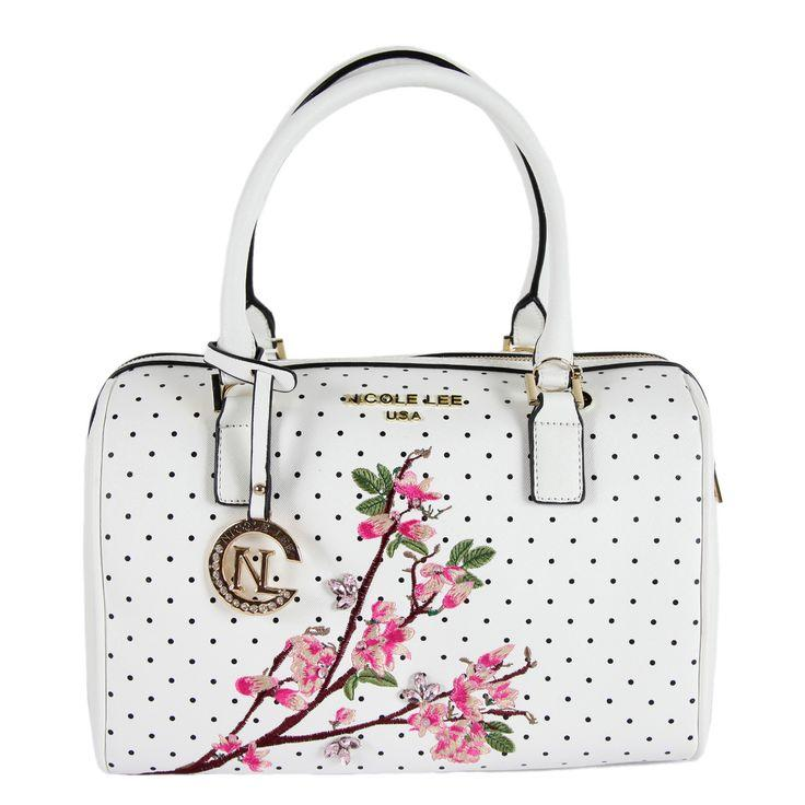 Düğün - Nicole Lee Kayley White Floral Embellishment Boston Handbag By Nicole Lee
