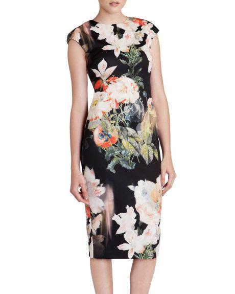 زفاف - Opulent Bloom Print Dress - Black