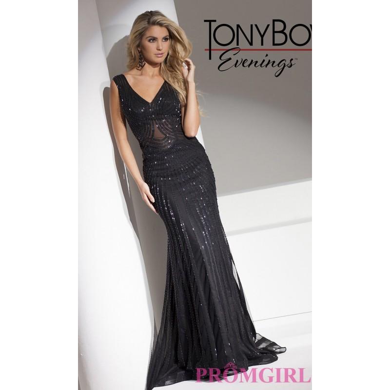 Wedding - Black V-Neck Prom Dress by Tony Bowls - Brand Prom Dresses