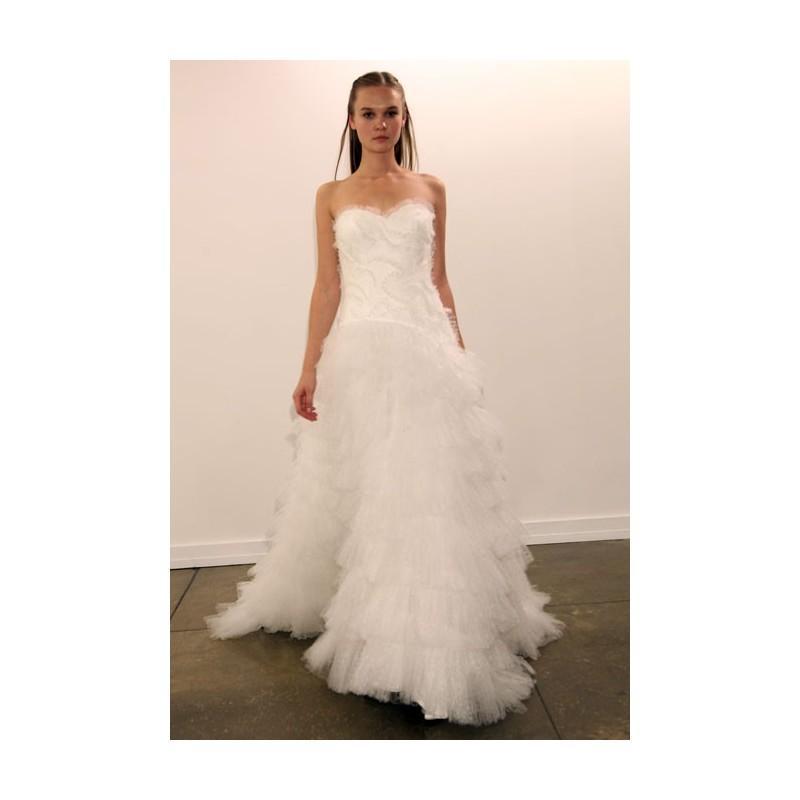 Tadashi Shoji - Fall 2012 - Strapless Organza A-Line Wedding Dress ...