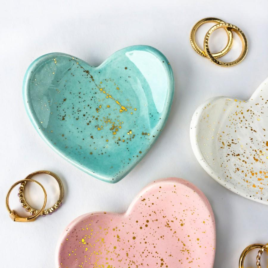 Wedding - Mini Heart Gold Splatter Ring Dish - Jewelry Dish, Jewelry Holder, Bridesmaid Gifts, Wedding Favors, Modern Pottery