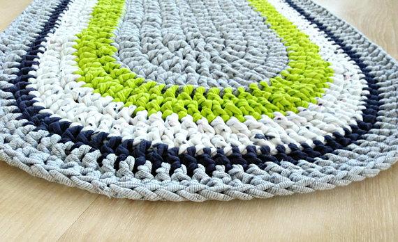 Rag Rug Gray Oval Crochet