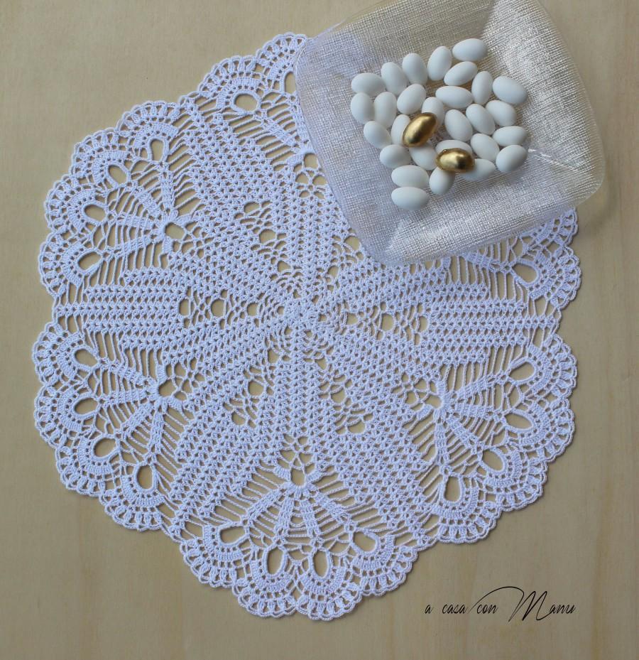 Grande Centrino A Uncinetto Bianco White Decor Crochet Lace Doily