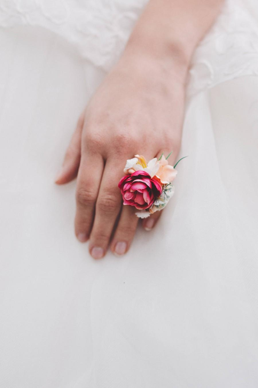 Wedding - Flower ring Floral ring Handmade jewelry Wedding floral accessories Ring