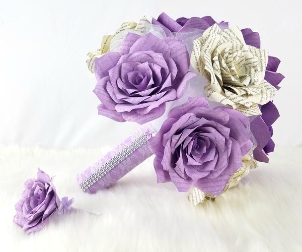 زفاف - Lavender Book Page Flower Bouquet