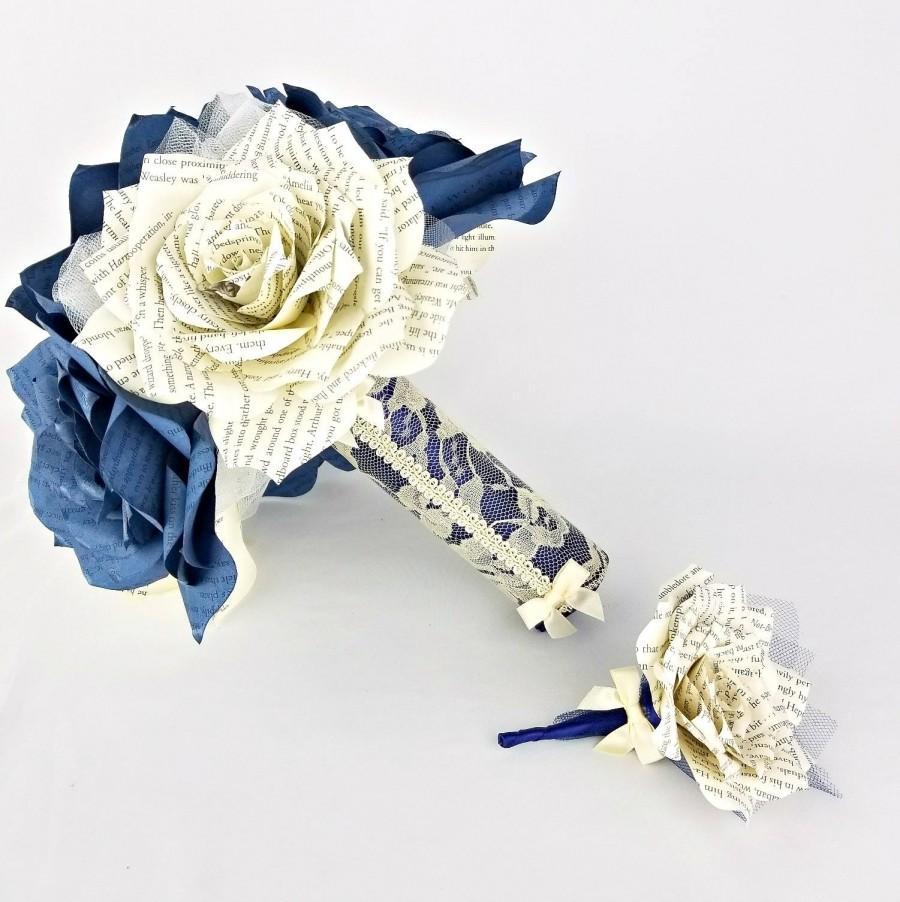 Wedding - Book page bridal bouquet - Paper book bouquet - Paper rose keepsake bouquet - Navy blue wedding bouquet with matching boutonniere option - $68.75 USD