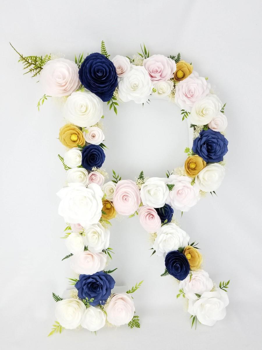 """Hochzeit - 23"""" Paper flower Letter"""