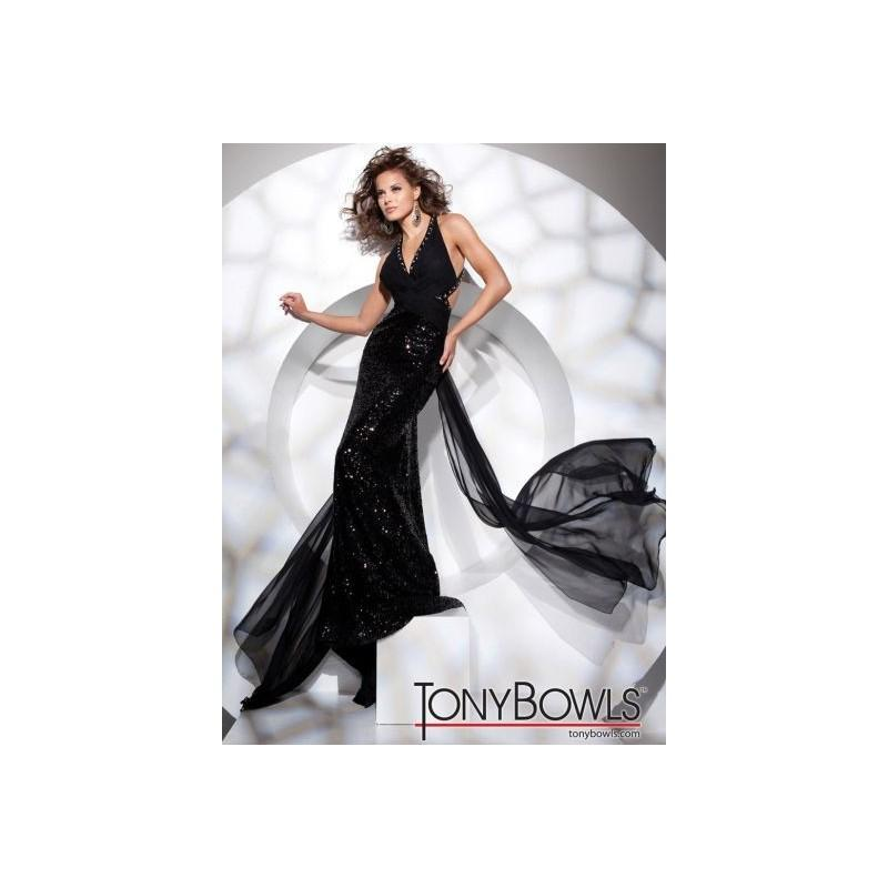Mariage - Tony Bowls Evenings Black Chiffon Dress with Sequins TBE21113 - Brand Prom Dresses
