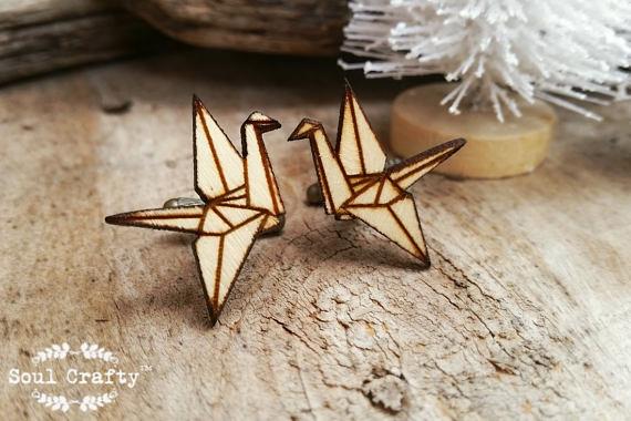 Wedding - Origami Paper crane Wooden Cufflinks Dad Grooms Best man Groomsman Rustic Wedding Birthday Gift Cuff links