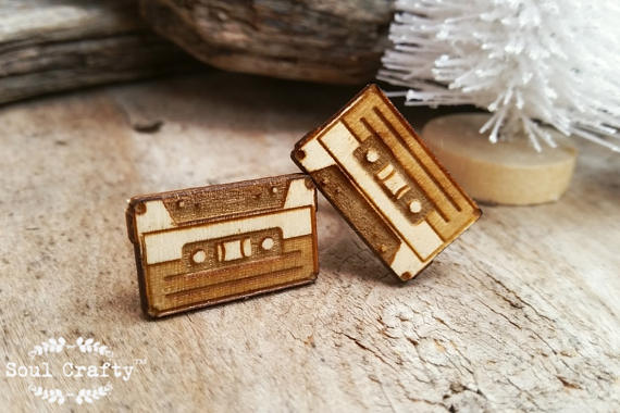 Свадьба - Cassette Tape Wooden Cufflinks Cassette Player Dad Grooms Best man Groomsman Rustic Wedding Birthday Gift Cuff links