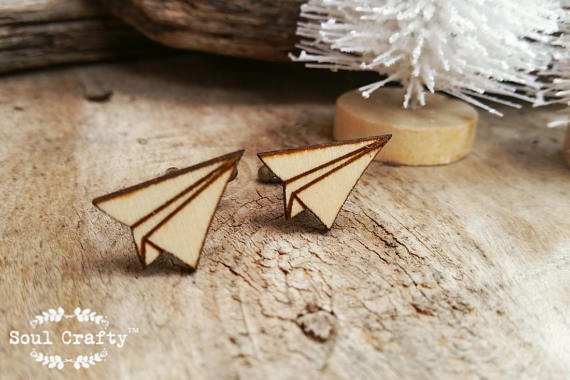 Origami Paper Plane Wooden Cufflinks Cuff Links Dad Grooms Best Man