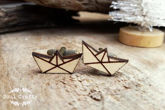 Mariage - Origami boat Wooden Cufflinks Geometric boat Dad Grooms Best man Groomsman Rustic Wedding Birthday Gift Cuff links