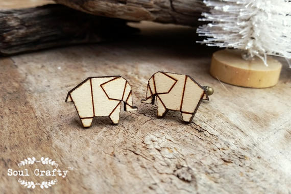 Origami Elephant Wooden Cufflinks Geometric Elephant Dad Grooms Best