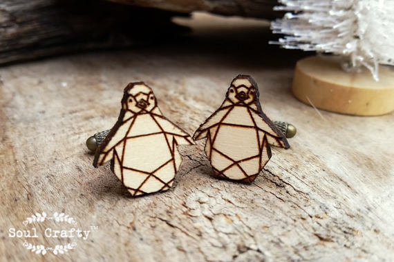 Hochzeit - Origami Penguin Wooden Cufflinks Geometric Penguin Dad Grooms Best man Groomsman Rustic Wedding Birthday Gift Cuff links