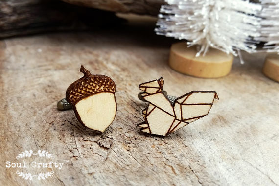 Squirrel Acorn Wooden Cufflinks Geometric Origami Dad Grooms Best Man Groomsman Rustic Wedding Birthday Gift Cuff Links
