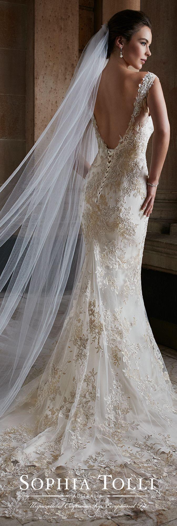 Свадьба - Sleeveless Lace Fit & Flare Open Back Wedding Dress - Sophia Tolli Y21736