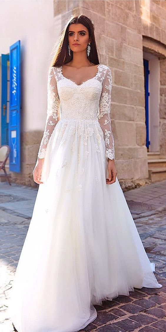 0bdd02f4c3a 30 Of The Most Graceful   Gorgeous Lace Sleeve Wedding Dresses ...