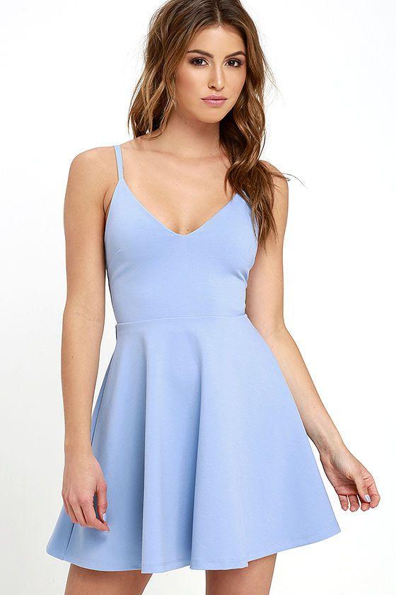 ad914dbad726 Dress - Meet Cute Light Blue Skater Dress  2740088 - Weddbook