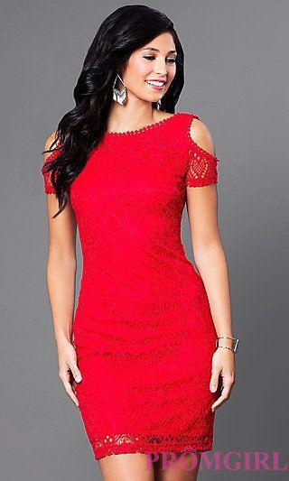 Wedding - Short Lace Cold-Shoulder Scoop-Back Red Party Dress