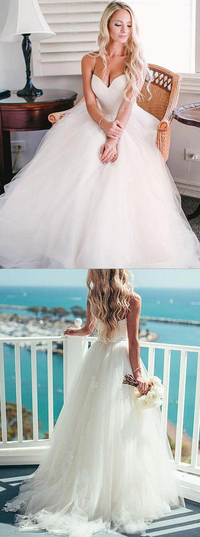 Свадьба - A-line Spaghetti Straps Tulle Sweep Train Appliques Sashes Ivory Wedding Dress