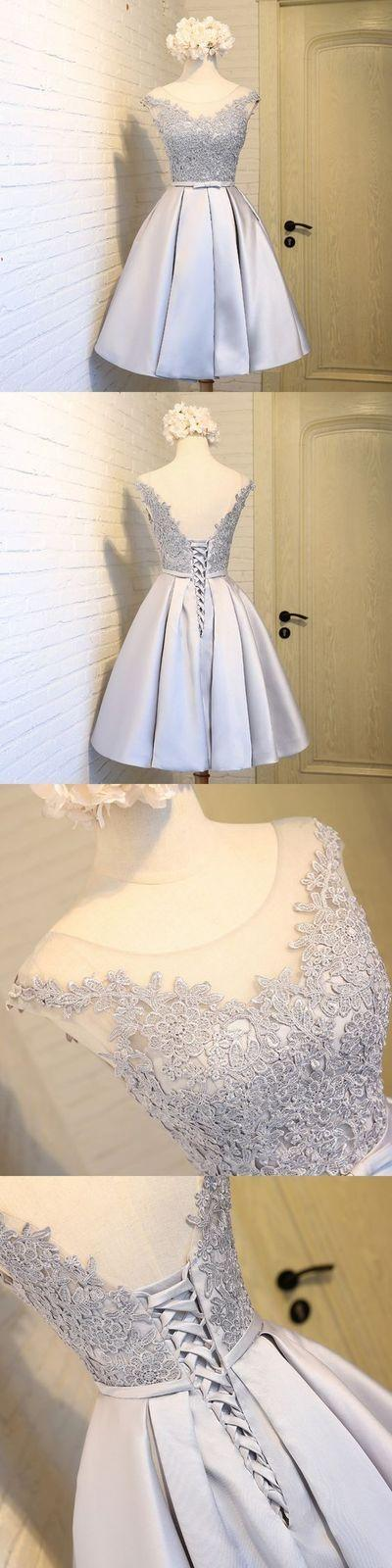 Свадьба - Gray Homecoming Dresses,lace Homecoming Dresses,satin Homecoming Dresses,cheap Homecoming Dress From DestinyDress