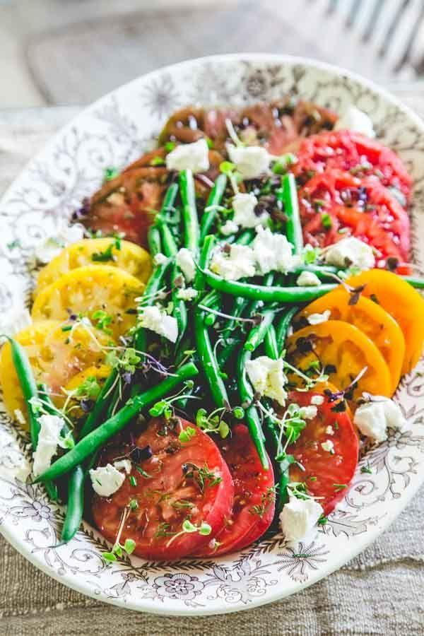 Hochzeit - Heirloom Tomato Salad With Green Beans And Chevre
