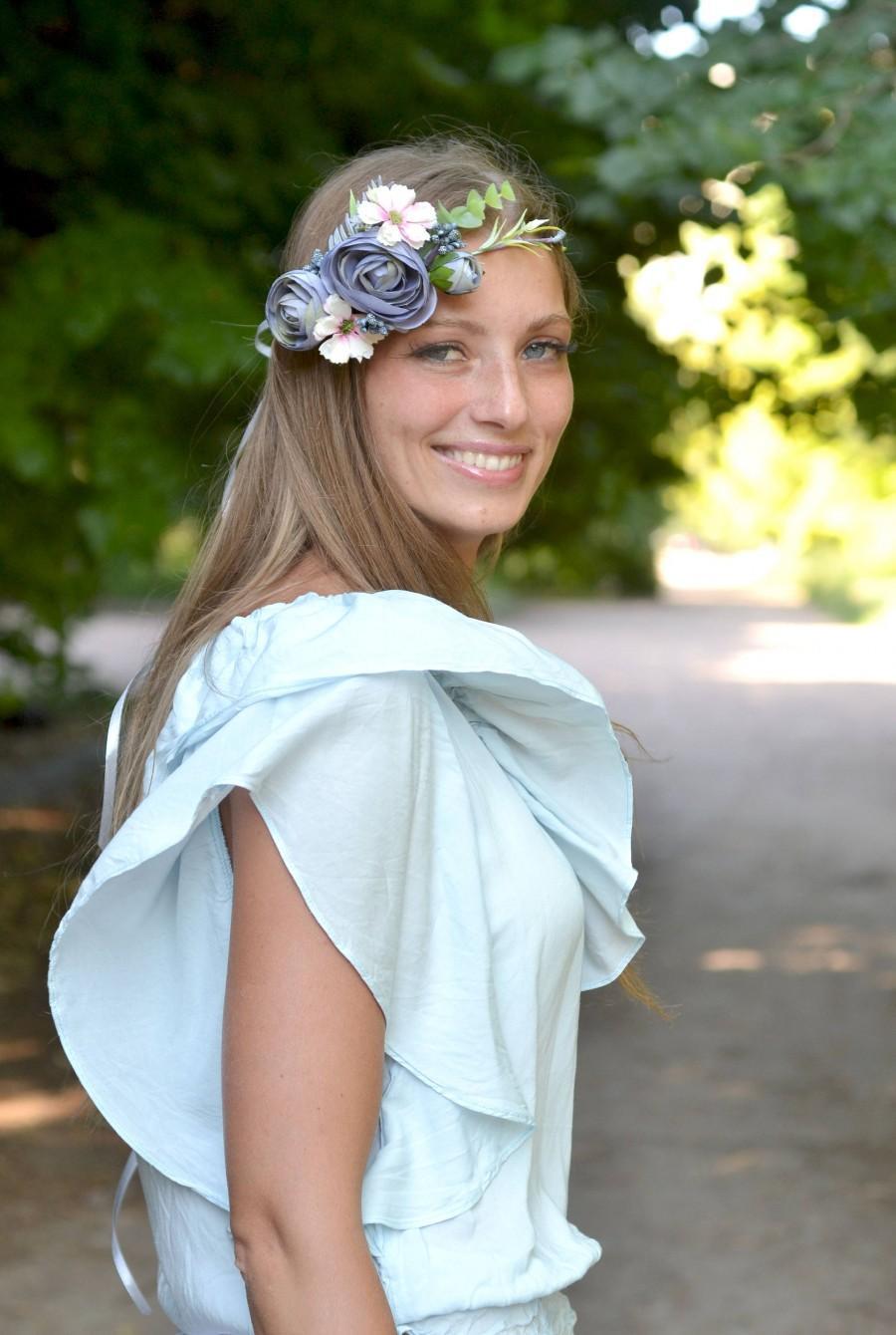 Serenity Flower Crown Wedding Ash Blue Floral Headband Bridal