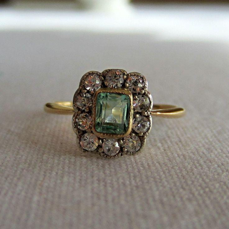 Hochzeit - RESERVED. Antique Emerald And Diamond Halo Ring. Early 1900s. Addy On
