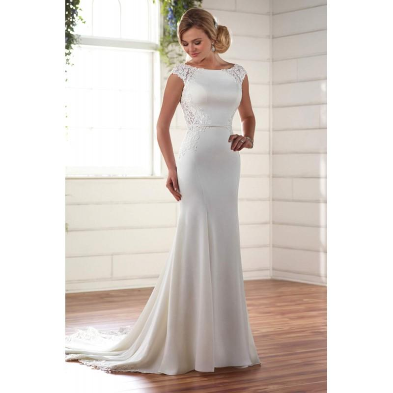 Wedding - Style D2238 by Essense of Australia - Ivory  White Crepe  Lace Illusion back Floor Bateau  High Column Capped Wedding Dresses - Bridesmaid Dress Online Shop