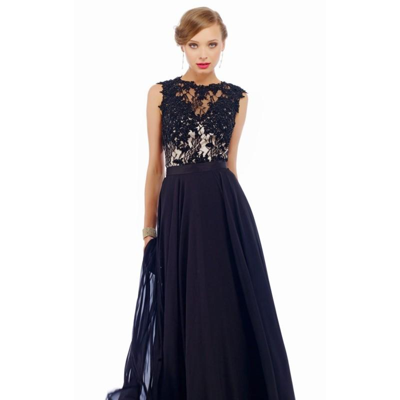 Wedding - Black Beaded Lace Chiffon Gown by Nika Formals - Color Your Classy Wardrobe