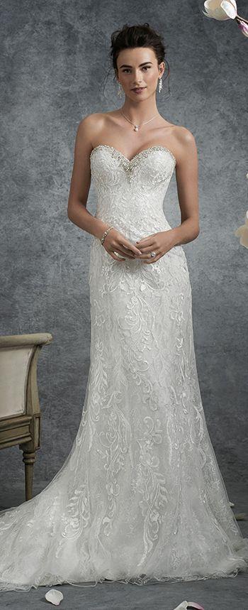 Свадьба - Slim A-line Lace Wedding Dress - Sophia Tolli Y21757