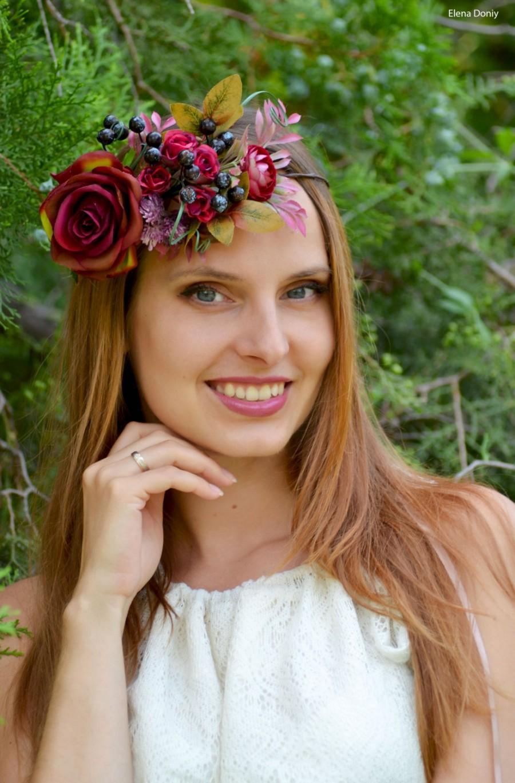 Burgundy Wedding Flower Crown Fall Bridal Floral Headband Bridal