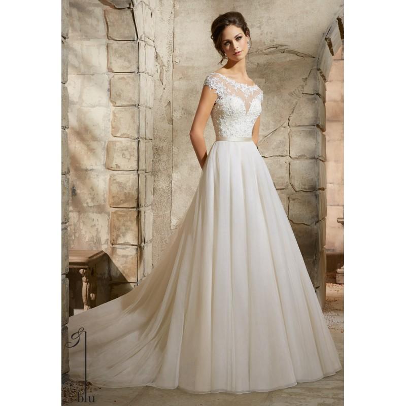 Wedding - Blu by Mori Lee 5362 Cap Sleeve Tulle Wedding Dress - Crazy Sale Bridal Dresses