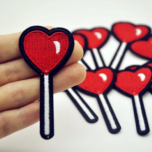 Свадьба - Candy Lollipop Heart Patch  lollipop Iron on patches heart candy embroidered patch candy applique badge patch fashion patches iron on p