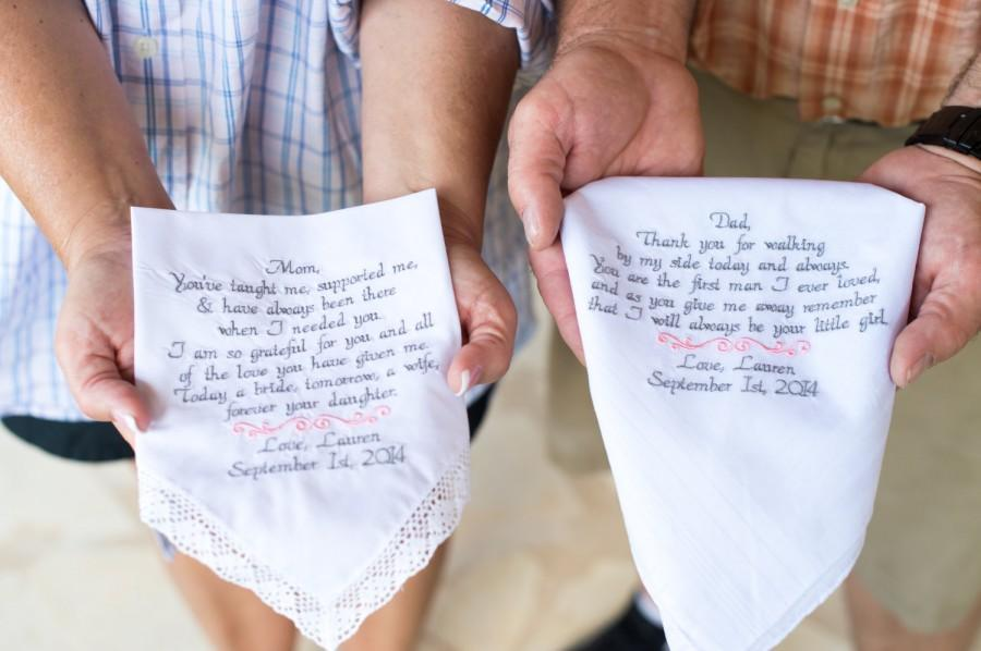 Wedding Gifts Embroidered Handkerchiefs Personalized Gift For Mom Dad By Canyon Embroidery