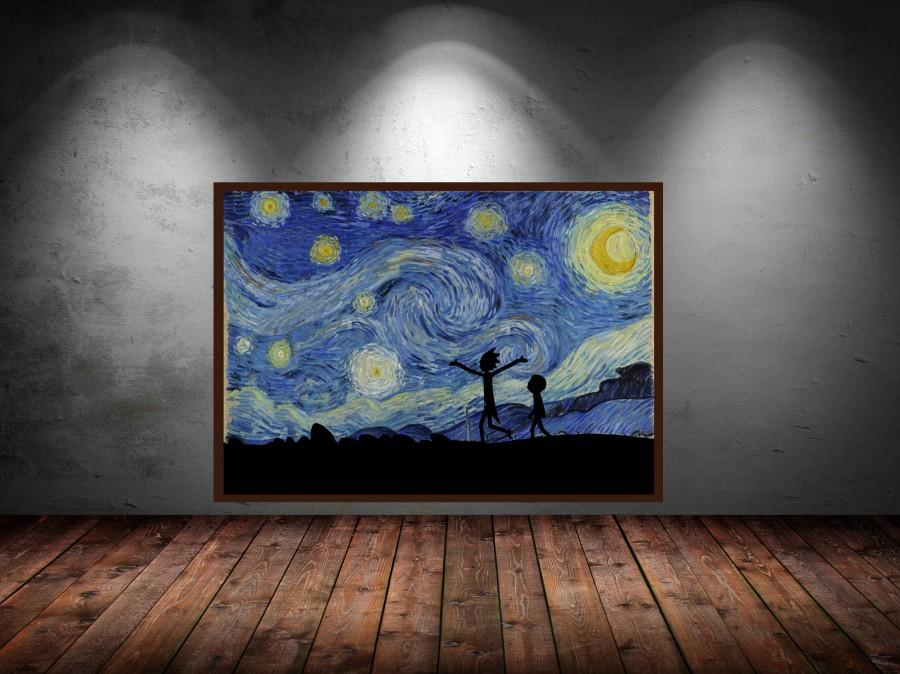rick and morty pin poster van gogh starry night hogwarts rick sanchez geek geek wall art wubba lubba dub dub adult swim rick morty & Rick And Morty Pin Poster Van Gogh Starry Night Hogwarts Rick ...